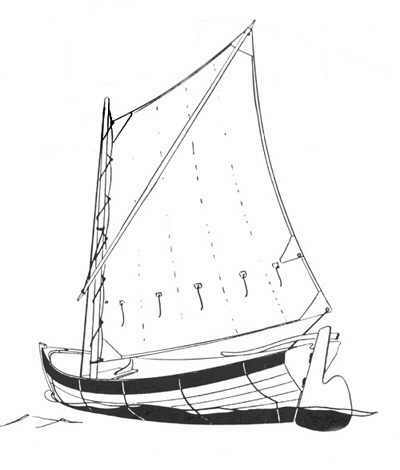 Boat Builder, Wooden Boats, Row Boats, Yacht Tenders, and Row Boat Accessories - Drawing of the Rhodes Wherry - a fine wooden boat used for rowing or sailing.